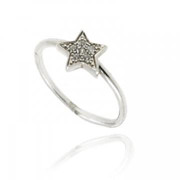Anel de estrela em prata...