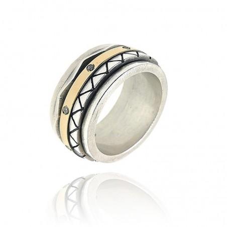 Aliança prata e ouro com cravação de zirconias