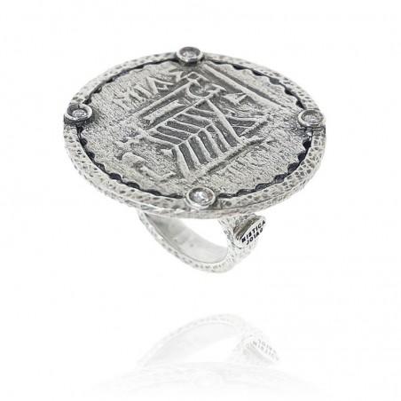 Anel exclusivo com moeda romana em prata oxidada