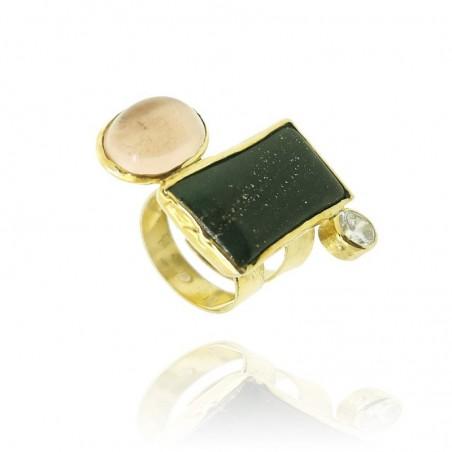 Anel exclusivo de prata dourada com ágata negra