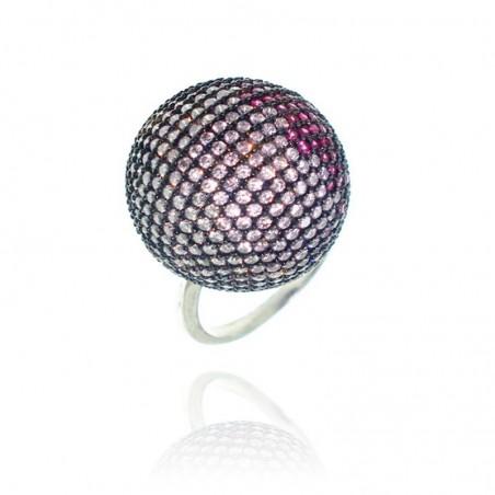 Anel exclusivo de prata rodeada com cravação multicolor