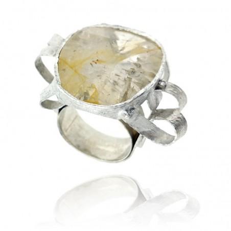 Anel exclusivo de prata rodeada com quartzo dendrit