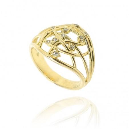 Anel de prata dourada com cravação
