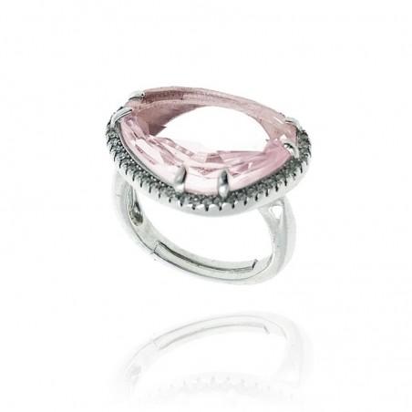 Anel de prata com cravação e quartzo rosa