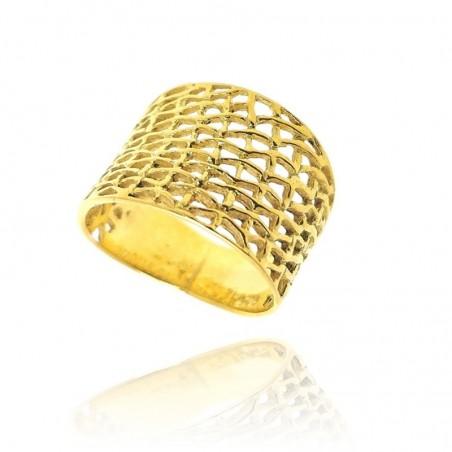 Anel rendilhado de prata dourada