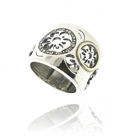 Anel de prata e ouro com cravação de zircónias