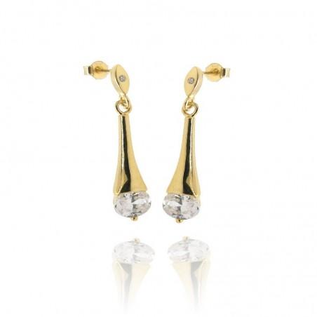 Brincos de prata dourada com zirconias ovais