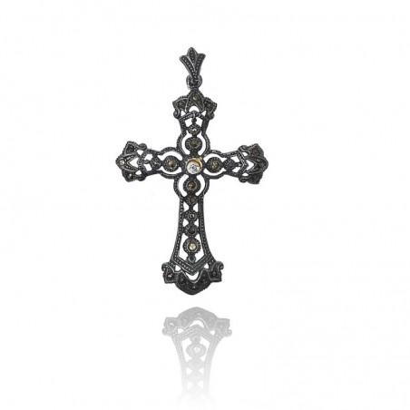 Medalha cruz exclusiva de prata oxidada com marcassitas