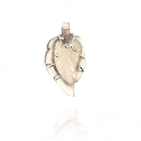 Medalha exclusiva de prata com pedra natural quartzo fumé