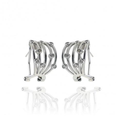 Brincos de prata rodeada com cravação de zircónias