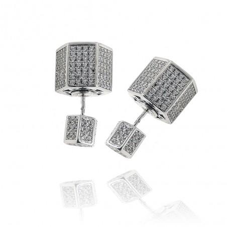 Brincos exclusivos de prata rodeada com cravação de zircónias