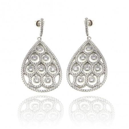 Brincos exclusivos de prata com cravação de zircónias