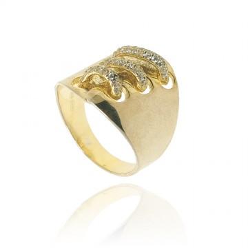 Anel de prata dourada com...