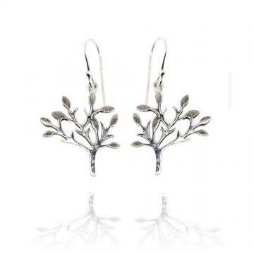 Brincos de prata com árvore...